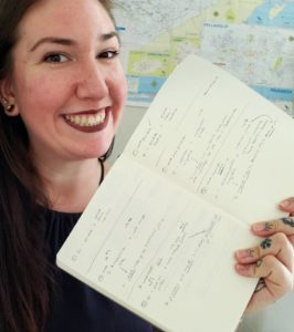 A photo of a woman smiling with a notebook in her hand and a map in the background. The notebook has language notes and the map is of Mexico.