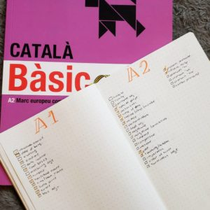 """A textbook that says """"Catala Basic"""" and a list of language grammar and vocabulary"""