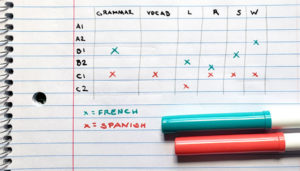 An example of what your final French language levels self-audit chart should look like