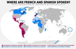 A map of the world with Spanish speaking countries marked in red and French speaking countries marked in blue