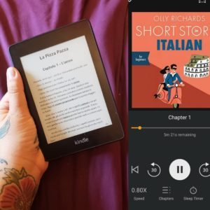 A composite image of a hand holding a Kindle book with Italian writing on it and a second panel with a screen shot about Italian short stories audio book