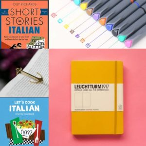 A collage of photos showing: a yellow notebook, multicolor pens, an Italian Short Stories book, an Italian cookbook, and a bookmark that looks like an anchor