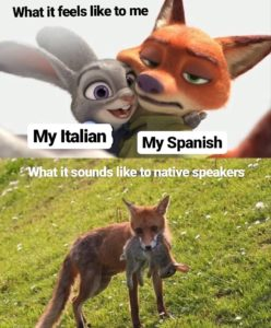 A meme about learning Italian and Spanish at the same time