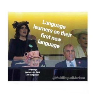 """A meme with the Queen of England looking pleased, labeled """"language learners on their third language"""" and everyone else looking horrified labeled """"language leaners on their first new language"""""""