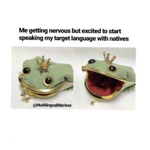"A meme where a little toy shaped like a frog is ecited to ""start speaking my target language with natives"""