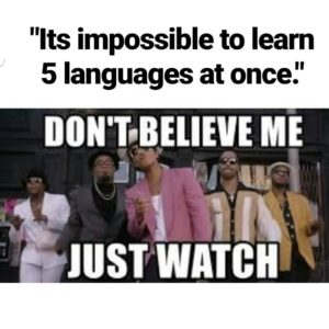 "A meme that says ""it's impossible to learn 5 languages at once"" which says ""don't believe me just watch"""