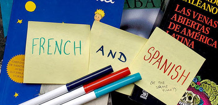 "Sticky notes that say ""French and Spanish at the same time"""