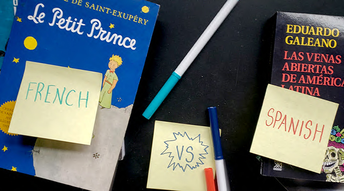 "Sticky notes with the words ""French vs Spanish"" written on them"