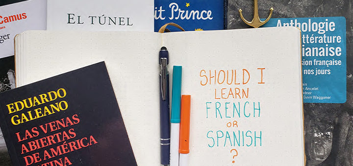 """The words """"should I study French or Spanish"""" written on paper"""