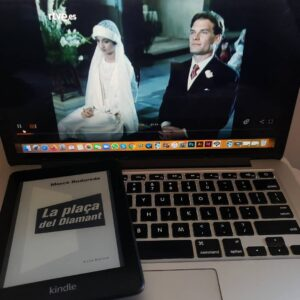 An image of a Kindle book in front of an old TV show