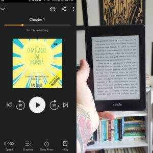 An image of an audiobook with a Kindle book (both of the same story)