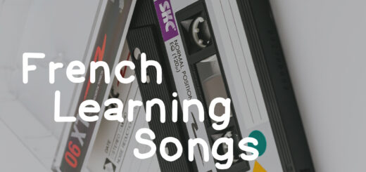 The text French Learning Songs on top of a casette tape