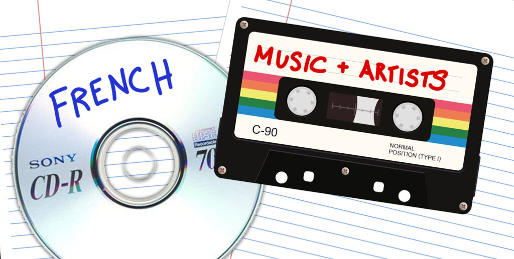 """A cassette and CD which say """"French music and artists"""" on top of lined paper"""