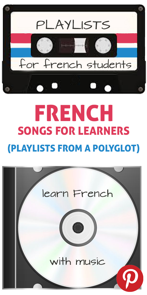 The pinterest flag for French learning songs