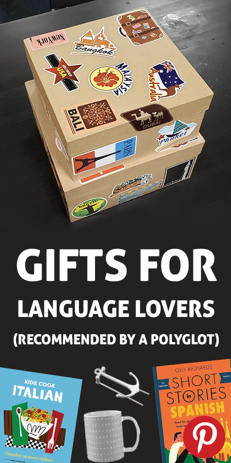 "A pinterest image flag with the words ""gifts for language lovers"" written above some gift examples"