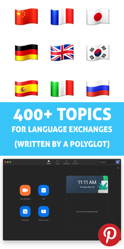 Pinterest tag photo for 400+ topics for language exchanges