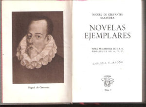 Inner cover for an older edition of Novelas Ejemplares
