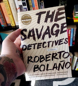 The cover of the English edition of Los Detectives Salvajes, which was originally a Mexican Spanish book