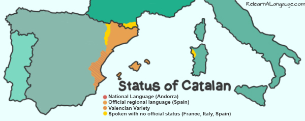 A map of the status of the Catalan language