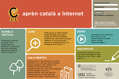 A screen shot of the official site for learning Catalan, Parla.cat