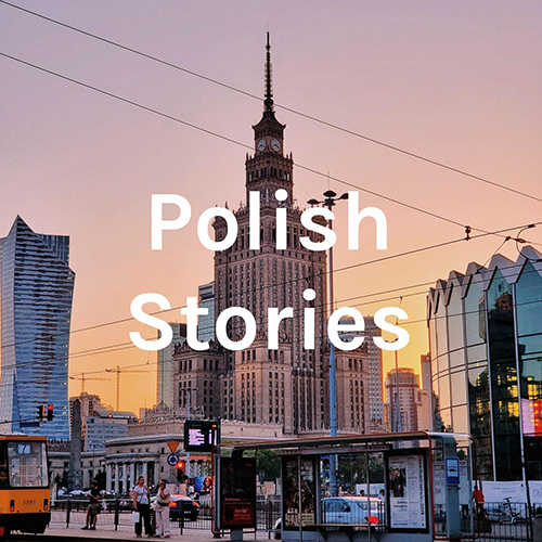 "The cover of the podcast ""Polish Stories"""
