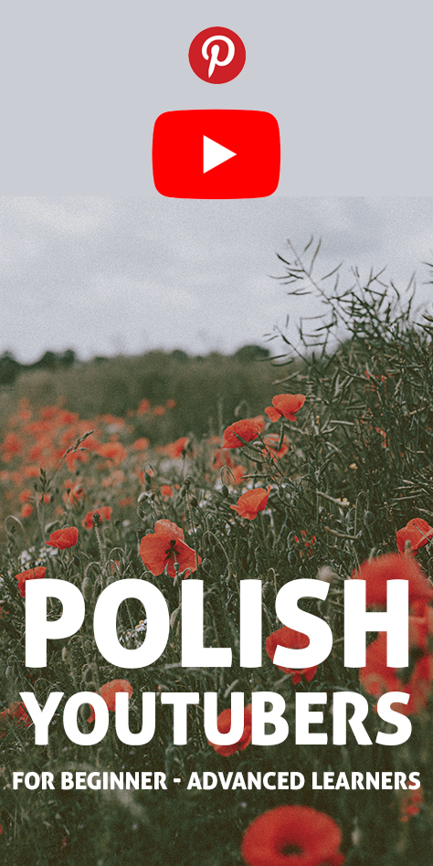 """The words """"Polish YouTubers for Language Learners"""" with the Pinterest image flag"""