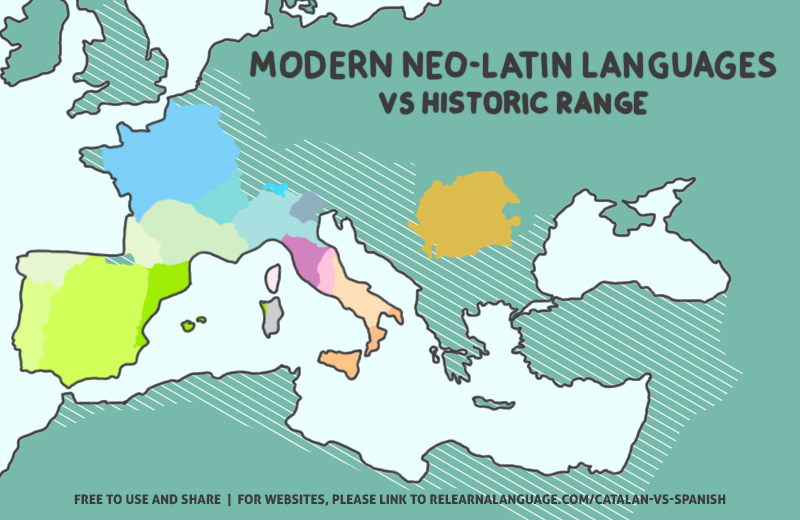 A map of the historic range of latin vs current neo-latin languages (including catalan vs spanish)