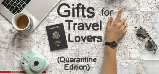 "The words ""gifts for travel lovers"" written on a map"