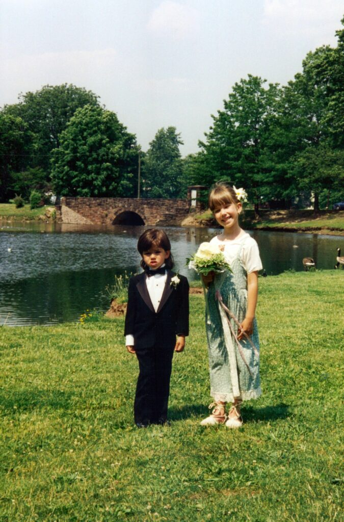 The author and her brother as children